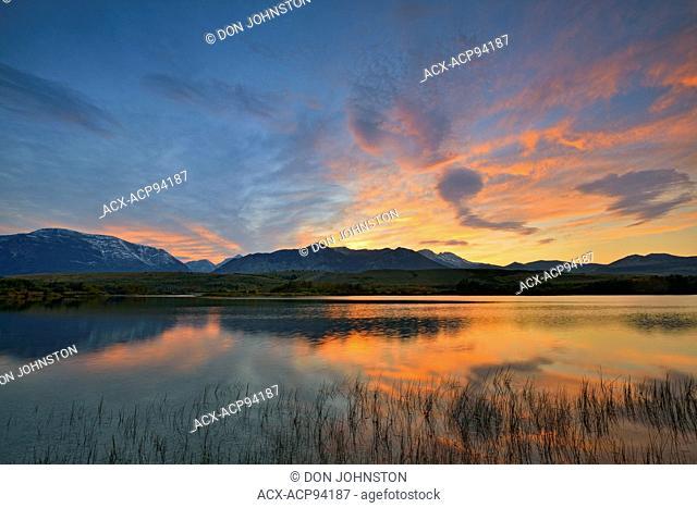 Sunset on Maskinonge Lake, Waterton Lake National Park, Alberta, Canada
