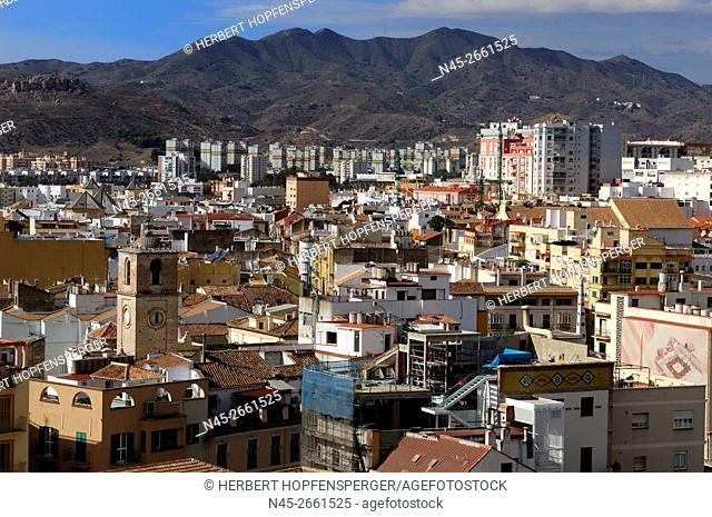 Cityscape from Malaga, Malaga, Costa del Sol, Andalusia, Spain, Europe
