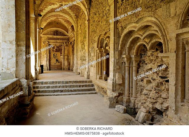 France, Aisne, Saint Michel en Thierache, abbey, walking alley in the cloister
