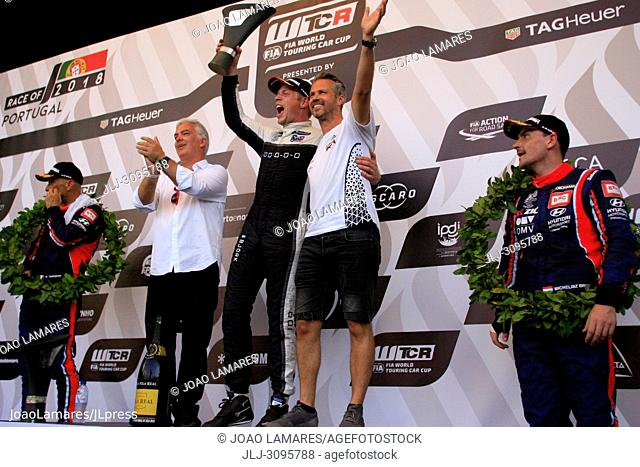 Tiago Monteiro (Driver) and Rui Santos (Mayor of Vila Real) bring the trophy for winner WTCR Race of Portugal Race 3 - Ted Bjork