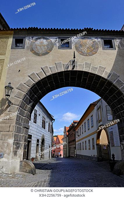 Latran street in the Old Town of Cesky Krumlov, South Bohemia, Czech Republic, Europe