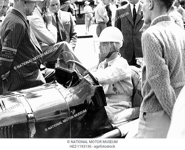 Raymond Mays at the British Empire Trophy Race, Donington Park, Derbyshire, 1939. He was a racing driver of the pre-war period