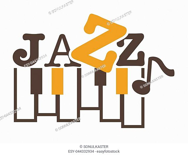 Jazz music promotional emblem with piano keys and sign in unusual font. Classy genre name and musical instrument on commercial logotype isolated cartoon flat...
