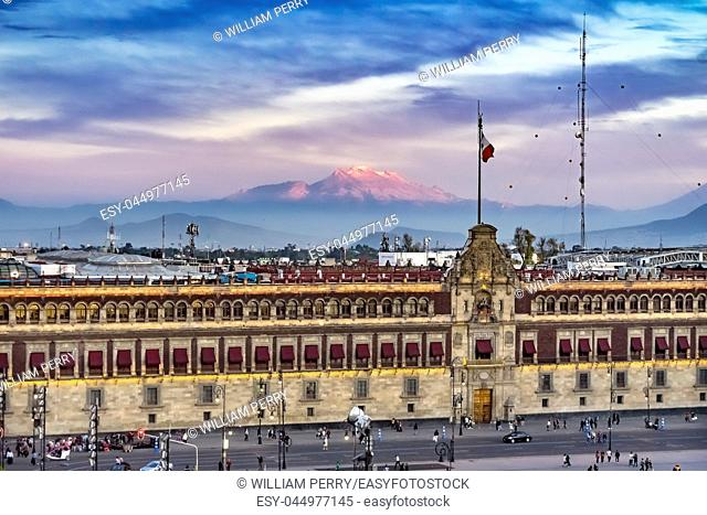 Presidential National Palace Balcony Snow Mountain Monument Zocalo Mexico City Mexico. Palace built by Cortez in 1500s. Balcony where Mexican President Appears