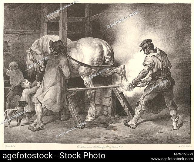 The Flemish Farrier. Series/Portfolio: Etudes de Chevaux; Artist: Théodore Gericault (French, Rouen 1791-1824 Paris); Date: 1822; Medium: Lithograph;...