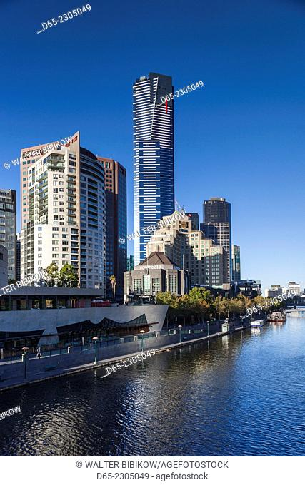 Australia, Victoria, VIC, Melbourne, Southbank skyline and Eureka Tower from Yarra River, morning