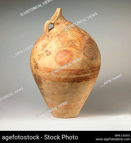 Terracotta beaked jug. Period: Middle Minoan IIIB; Date: ca. 1700-1600 B.C; Culture: Cycladic, Melian; Medium: Terracotta; Dimensions: height as restored: 21...