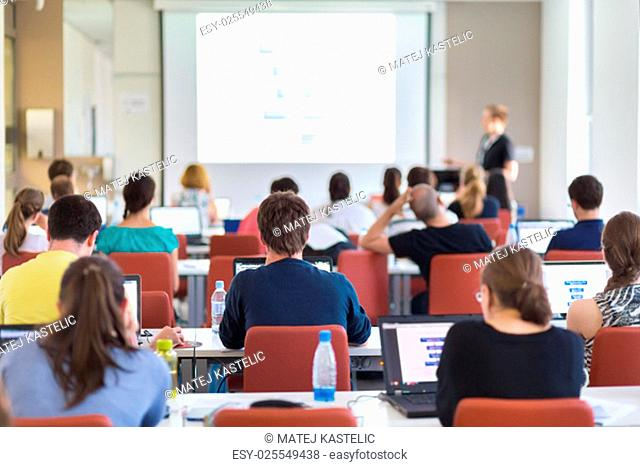 Workshop at university. Rear view of students sitting and listening in lecture hall doing practical tasks on their laptops. Copy space on white screen