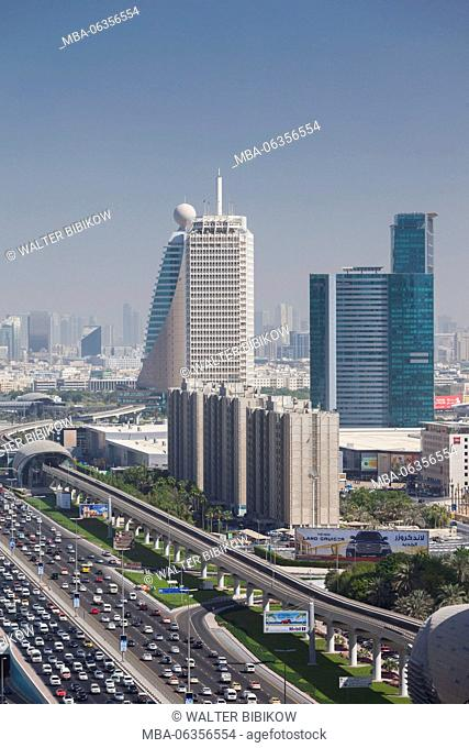 UAE, Dubai, Downtown Dubai, high rise buildings along Sheikh Zayed Road, morning