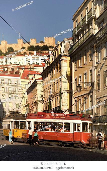Portugal, Lisbon, Portugal, Lisbon, Tram Electrico, Strassenbahn Baixa , castelo