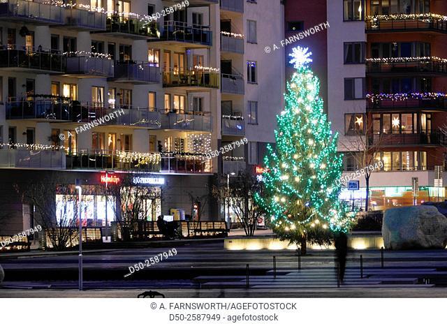 STOCKHOLM, SWEDEN Christmas tree in Liljeholmen