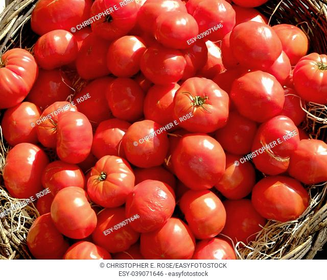 Vibrant red home grown tomatos on a market stall in the Dordogne, France