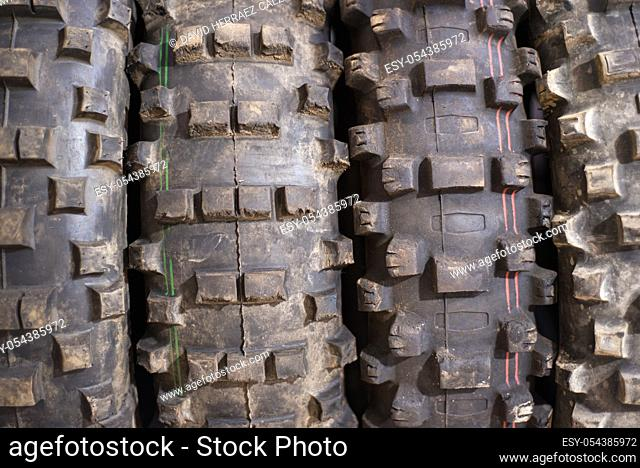Used off road motocross tires background