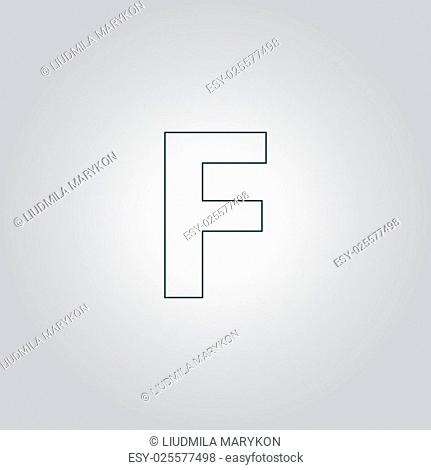 Letter F. Flat web icon or sign isolated on grey background. Collection modern trend concept design style vector illustration symbol