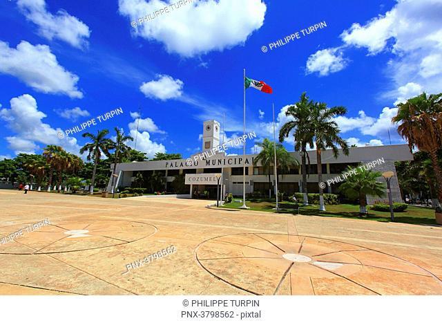 Mexico, Quintana Roo, Cozumel Island. San Miguel de Cozumel. Palacio Municipal