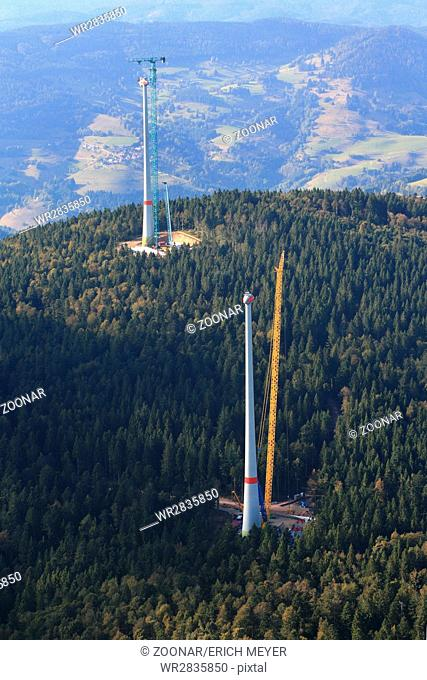 Construction site for wind turbine installation in the Black Forest