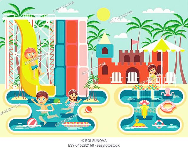 Stock vector illustration cartoon characters children, boys and girls frolicking or resting water park, water attractions, riding water slide swim pool