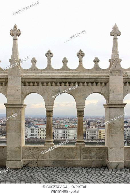 Hungary, Budapest, Castle Hill Gothic columns detail