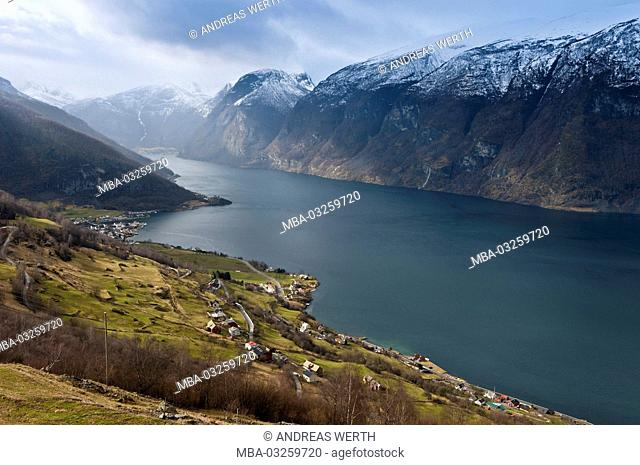 View in the Aurlandsfjord, a branch of the Sognefjords, place Aurland, late winter, Sogn of Fjordane, Norway