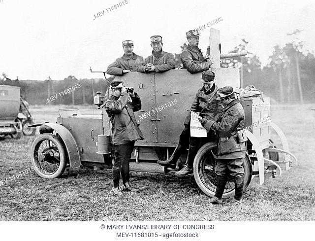 Soldiers in an armoured car during WWI in America