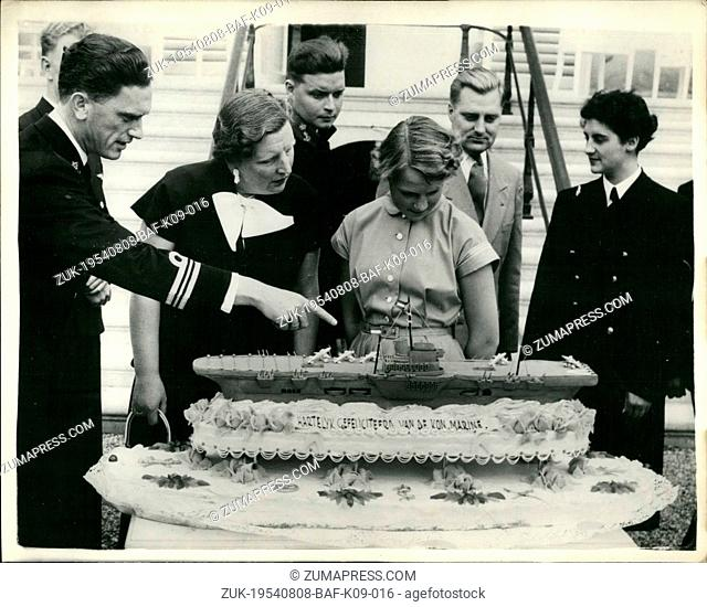 Aug. 08, 1954 - Princess Irene of the Netherlands celebrates her fifteenth birthday - with unique birthday cake.: Accompanied by mother Queen Juliana - Princess...