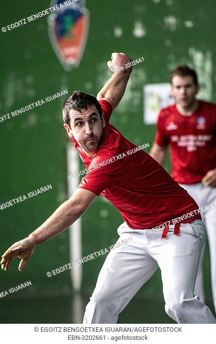 Oier Apezetxea at the semi-finals of Antton Pebet basque pelota bare hand tournament. Villabona, Basque Country, Spain