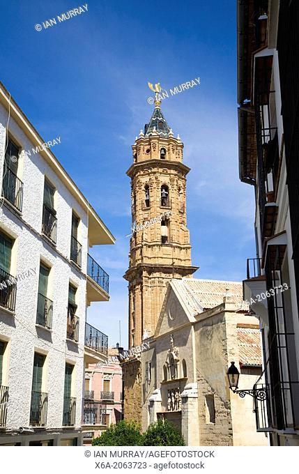 Historic street buildings church tower San Sebastian, centre of Antequera, Spain