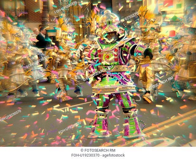 Philadelphia, PA, Pennsylvania, downtown, New Years Day, Philadelphia Annual Mummer's Day Parade, 2006, String Bands, blur, confetti