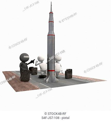Three anthropomorphic figures with rocket and fuel cans, CGI