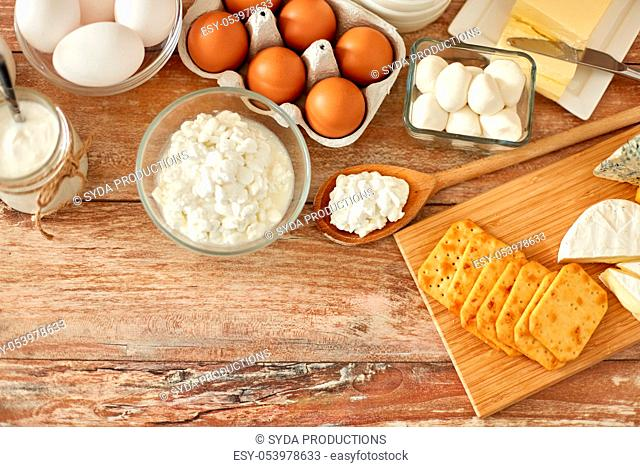 cottage cheese, crackers, eggs, yogurt and butter