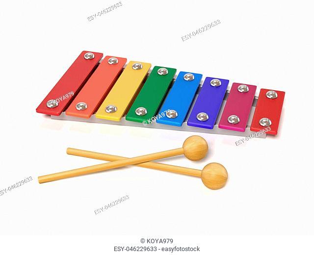 xylophone, metallophone 3d rendering