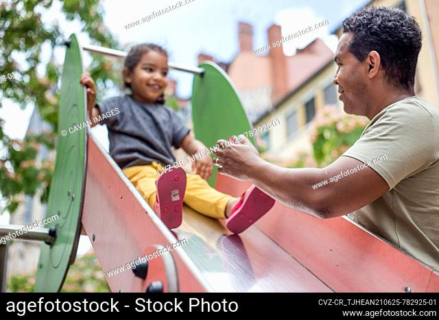 father with his daughter for a walk and playing