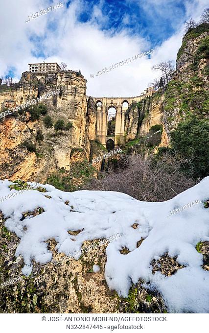 Puente Nuevo (new bridge), Tajo Gorge, Winter, Ronda. Malaga province, Andalusia, Spain