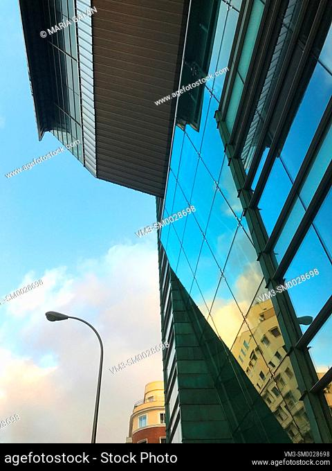Glass facade of Sports Palace, Wizink Center. Goya street, Madrid, Spain