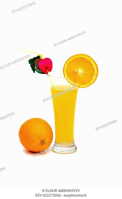 Orange and juice isolated on the white