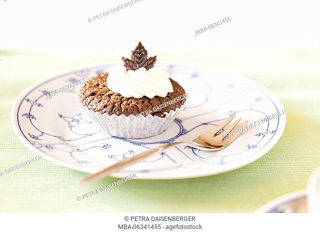 Chocolate muffin on a plate
