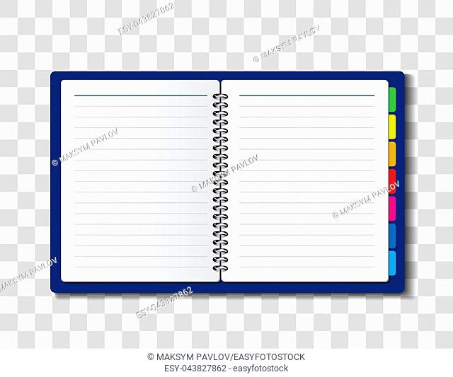 Paper notebook vector illustration on checkered background