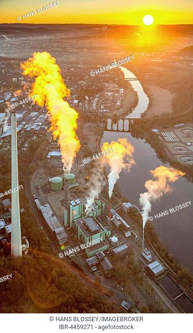 Heating power station Cuno by Lake Harkort, sunrise, Herdecke, Ruhr district, North Rhine-Westphalia, Germany
