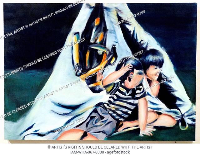 Jennifer Shufflebotham 'Preparing to Dive Sandgate and Wigwam, Whitstable', 2014. Oil and acrylic on canvas. 'Preparing to Dive Sandgate and Wigwam Whitstable'...