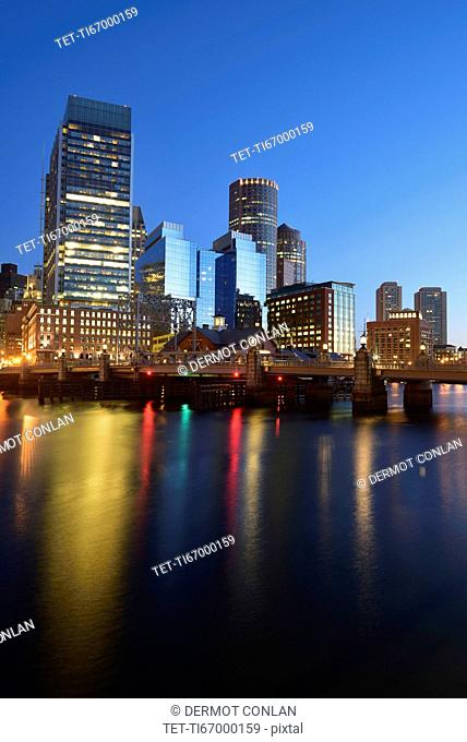 Waterfront and bridge at dawn