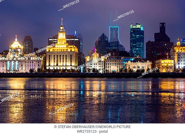 China, Shanghai, The Bund of the Bund with the Customs House of Shanghai