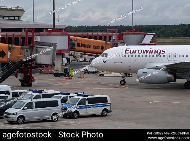 27 September 2020, Berlin: A Eurowings aircraft rolls to a gate at Tegel Airport. The opening date of the new BER airport is scheduled for 30 October 2020 and...