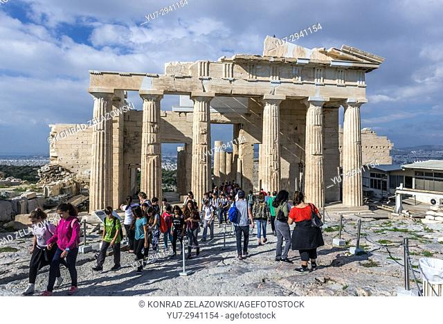 Facade of monumental gateway called Propylaea, entrance to the top of Acropolis of Athens city, Greece
