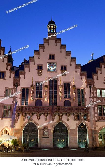 town hall 'Römer', illuminated at night, Frankfurt, Germany