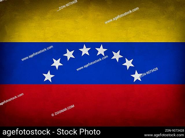 Venezuelan flag painted on the wall. Venezuelan flag background