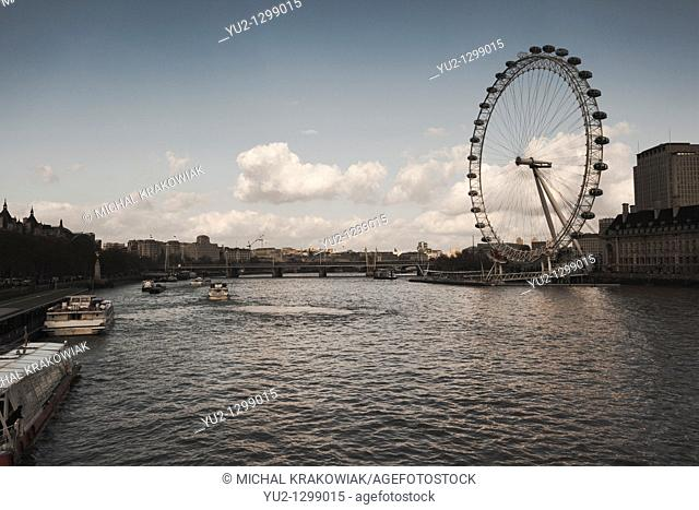 View on Thames river and famous London Eye