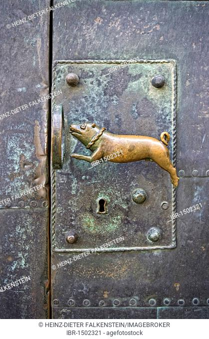 Door handle at the Quedlinburg Abbey, Church of St. Servatius, Quedlinburg, Saxony-Anhalt, Germany, Europe