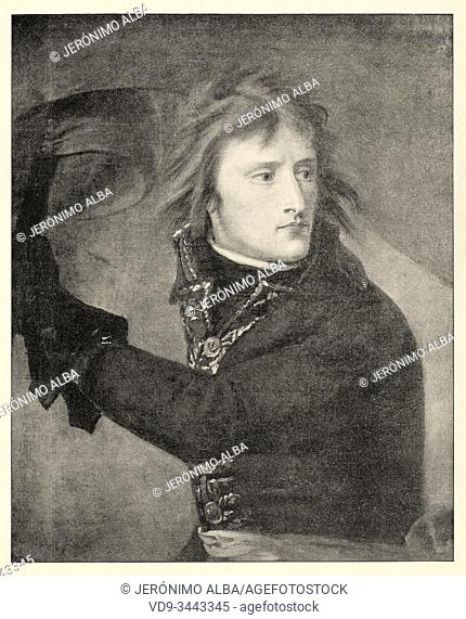 Portrait of Napoleon Bonaparte at the Pont dâ. . Arcole. History of France, old engraved illustration image from the book Histoire contemporaine par l'image...