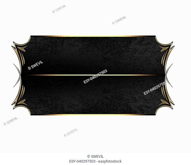 Nameplate with a gold pattern edges and black ribbon.. Design template