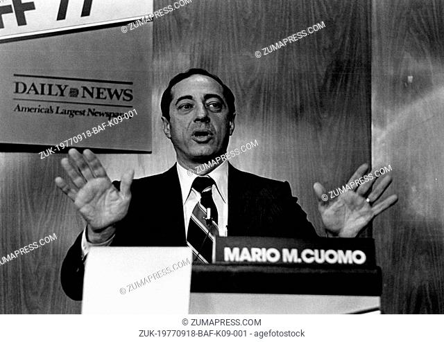 Sep. 18, 1977 - Mario M. Cuomo lost the Democratic Party nomination for Mayor for New York at the Mayoral Runoff' 77 but stays in the race for the November...